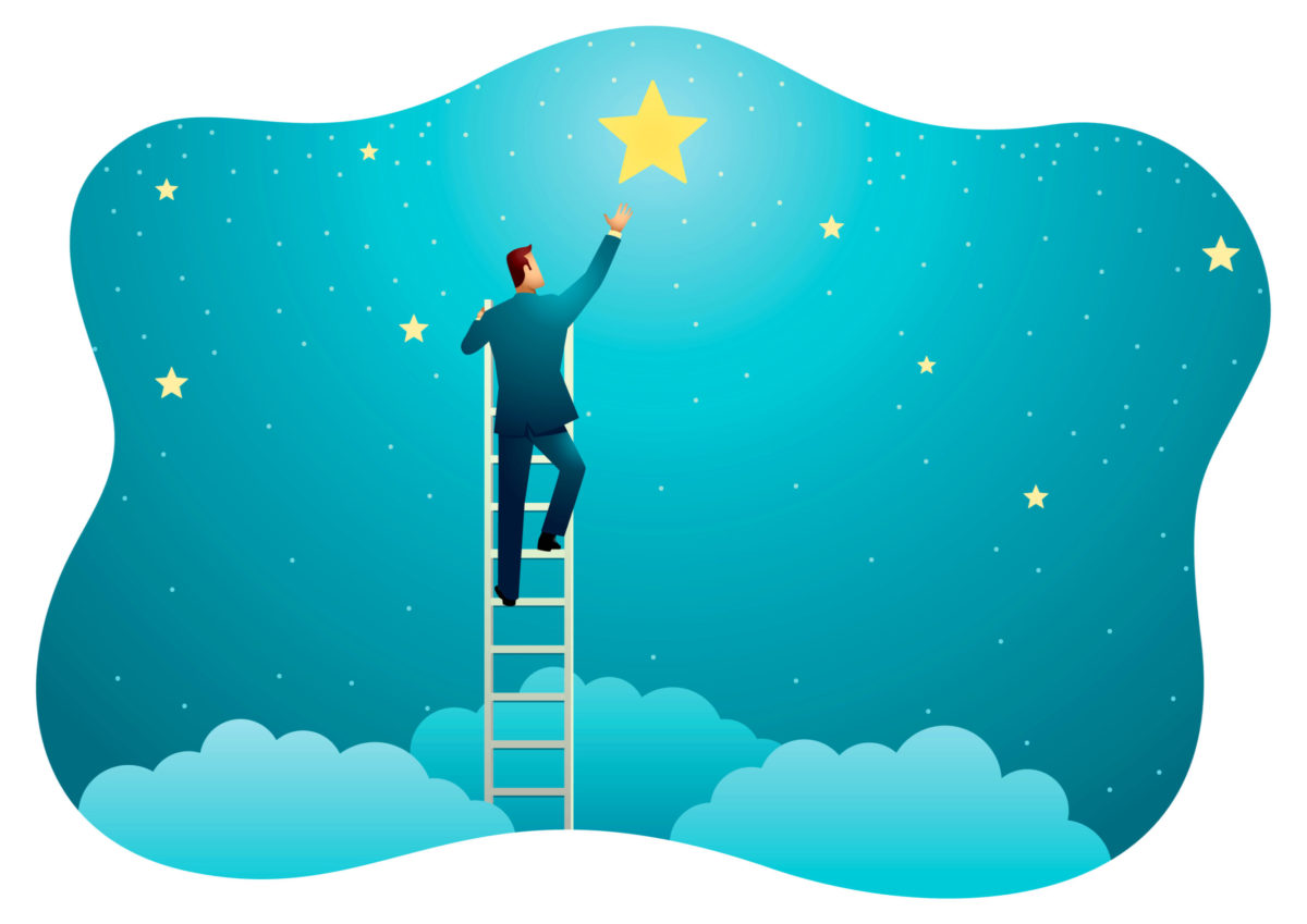 雲の上まで伸びる梯子を使い、星を取ろうとするお男の写真