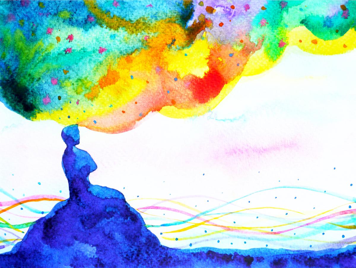 瞑想しながら考える男の抽象画